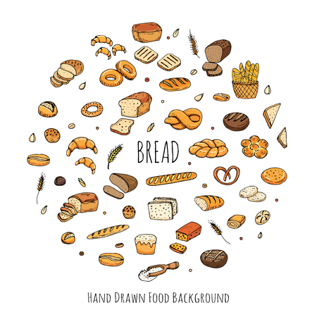 bagel: Hand drawn doodles of cartoon food: rye bread, ciabatta, whole grain bread, bagel, sliced bread, french baguette, croissant, sandwich, cake. Bread set. Vector illustration. Sketch elements collection.