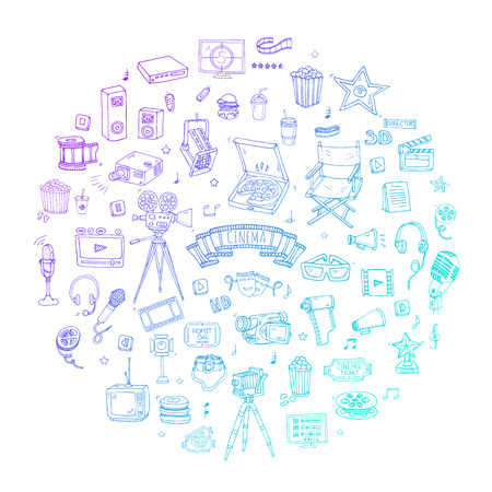 cinematography: Hand drawn doodle Cinema set. Vector illustration. Movie making icons. Film symbols collection. Cinematography freehand elements: camera, film tape, photo camera, pizza, popcorn, projector, microphone