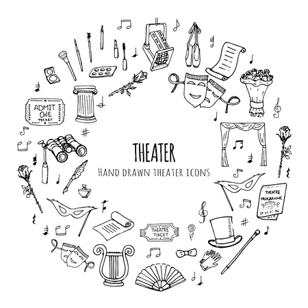 acting: Hand drawn doodle Theater set. Vector illustration. Sketchy artistic icons. Acting performance elements: Ticket, Masks, Lyra, Flowers, Curtain stage, Musical notes, Pointe shoes, Make-up artist tools.