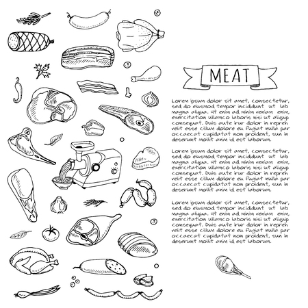 Hand drawn doodle set of cartoon different kind of meat and poultry. Vector illustration set. Sketchy food elements collection: Lamb, Pork, Ham, Mince, Chicken, Steak, Bacon, Sausage, Salami, Veggie. Ilustrace