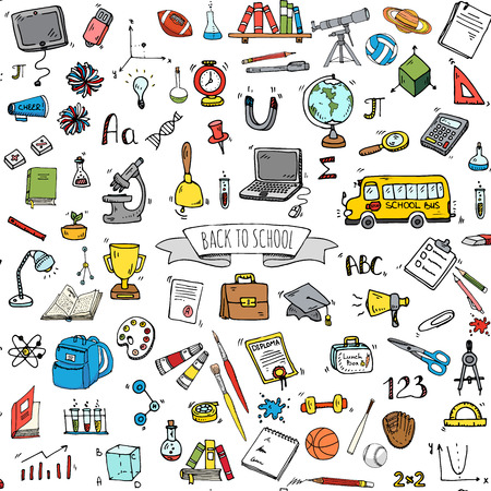 Seamless background hand drawn doodle Back to school icon set Vector illustration educational symbols collection Cartoon various learning elements: Laptop; Lunch box; Microscope; Telescope; Sketch bus