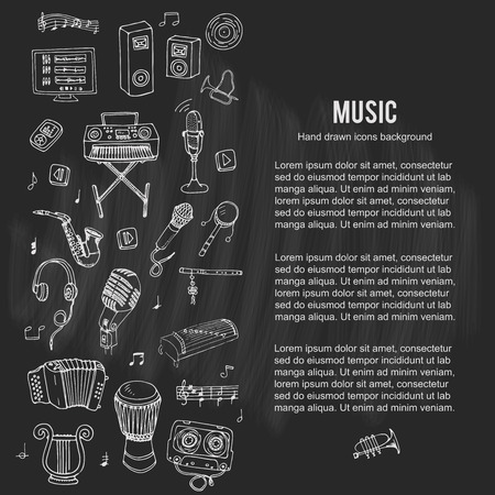 loud speakers: Hand drawn doodle Music set. Vector illustration. Musical instrument and symbols icons collection. Cartoon sound elements: Notes, Trumpet, Drum, Saxophone, Harp, Microphone, Headphones, Loud speakers. Illustration