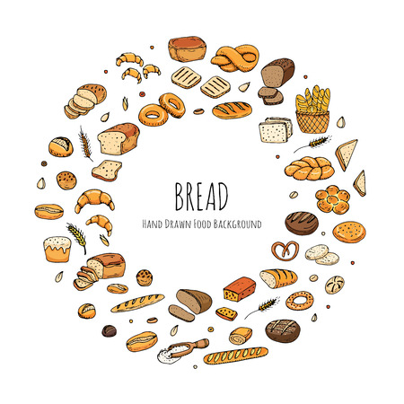 rye bread: Hand drawn doodles of cartoon food: rye bread, ciabatta, whole grain bread, bagel, sliced bread, french baguette, croissant, sandwich, cake. Bread set. Vector illustration. Sketch elements collection.