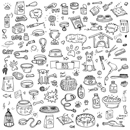 Hand drawn doodle Pets stuff and supply icons set. Vector illustration. Vet symbol collection. Cartoon dogs and cats care elements: kennel, leash, food, paw, bowl, bone and other goods for pet shop