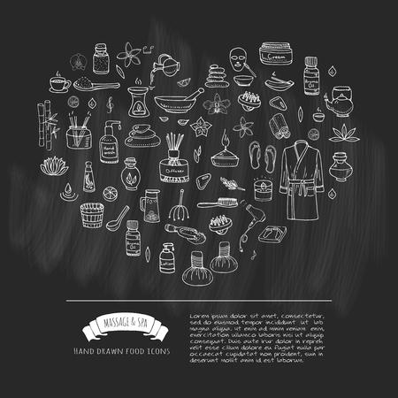 手描き落書きボディ マッサージとスパのアイコン セット。ベクトルの図。リラックスできるシンボルのコレクションです。美容肌ケア成分を漫画: