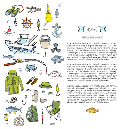 lure: Hand drawn doodle Fishing icons set. Vector illustration. Cartoon catching fish equipment elements collection: Rod, Baits, Spinning, Lure, Inflatable Boat, Yacht, Lighthouse, Cloth, Safety jacket.
