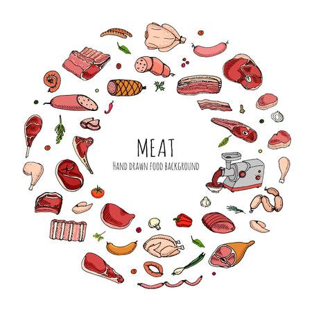 Hand drawn doodle set of cartoon different kind of meat and poultry. Vector illustration set. Sketchy food elements collection: Lamb, Pork, Ham, Mince, Chicken, Steak, Bacon, Sausage, Salami, Veggie. Çizim