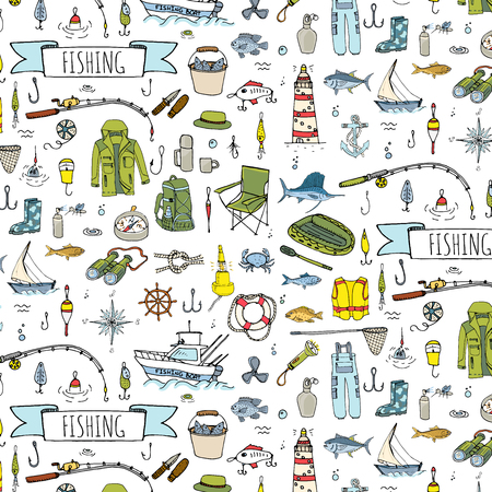 Naadloos patroon hand getrokken doodle Fishing iconen set. Vector illustratie. Cartoon het vangen van vis apparatuur elementen collectie: Rod, Baits, Spinning, Lure, Inflatable Boat, Yacht, Lighthouse, Doek.