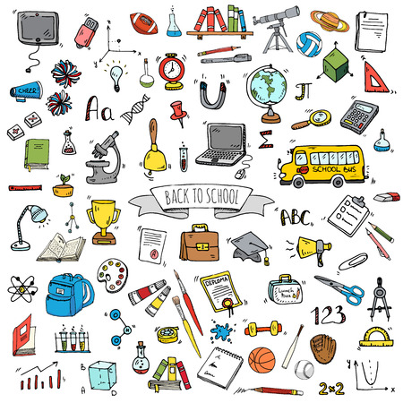 Hand drawn doodle Back to school icons set. Vector illustration. Educational symbols. Cartoon various learning elements: Laptop; Lunch box; Bag; Microscope; Telescope; Books; Pencil Sketch bus