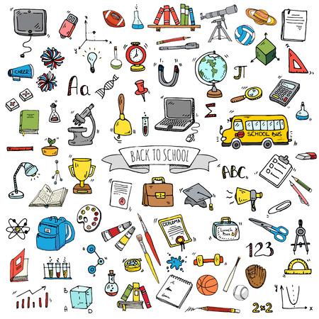 Hand getrokken doodle back to school pictogrammen instellen. Vector illustratie. Educatieve symbolen. Cartoon verschillende learning elementen: Laptop; Lunchbox; Zak; Microscoop; Telescoop; Boeken; Pencil Sketch bus