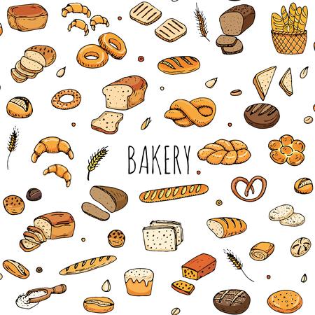 漫画食品のシームレス パターン手描き落書き: ライ麦パン、全粒パン、ベーグル、パン、フランスパン、クロワッサン、サンドイッチのスライスし