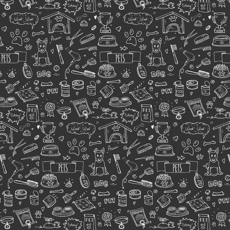 kennel: Seamless pattern hand drawn doodle Pets stuff and supply icons set. Vector illustration. Symbol collection. Cartoon dog care elements: kennel, leash, food, paw, bowl, bone and other goods for pet shop Illustration