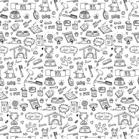 Seamless pattern hand drawn doodle Pets stuff and supply icons set. Vector illustration. Symbol collection. Cartoon dog care elements: kennel, leash, food, paw, bowl, bone and other goods for pet shop Illustration