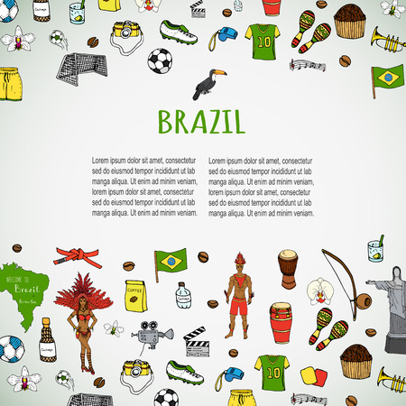 football cleats: Hand drawn doodle Welcome to Brazil set Vector illustration Sketchy Brazilian traditional icons Cartoon Brazil typical elements collection Landmark Football ball cleats goal Capoeira Samba Orchid Illustration