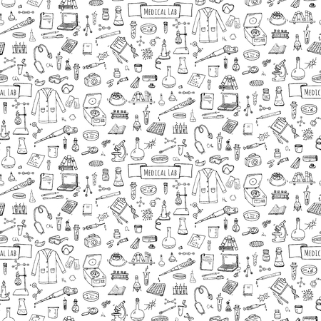 Seamless pattern Hand drawn doodle Medical laboratory icons set. Vector illustration. Chemical lab symbol collection. Cartoon medicine and healthcare elements: research tools, substance and molecules