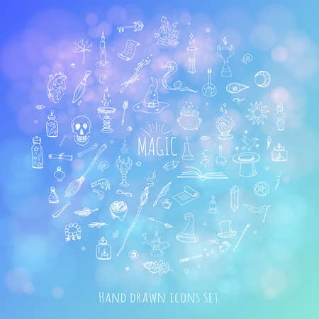Hand drawn doodle Magic icons set. Vector illustration. Cartoon sorcery concept. Wizardy, witchcraft symbols and elements: Magic wand, Love potion, Fairy book, Fairytale, Snake, Crystal ball, Broom.
