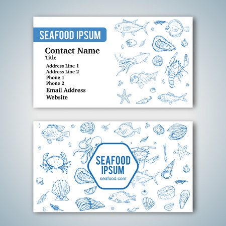 salmon fillet: Business card template with hand drawn doodle seafood icons for restaurant. Vector illustration. Cartoon fresh sea food symbols: fish, crab, lobster, oyster, shrimp, shellfish on white background.