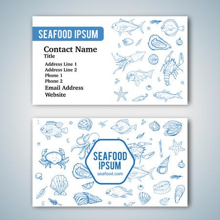 modèle de carte d'affaires avec des icônes doodle de fruits de mer dessinés à la main pour restaurant. Vector illustration. Cartoon symboles de fruits de mer frais: poissons, crabes, homards, huîtres, crevettes, coquillages sur fond blanc. Vecteurs