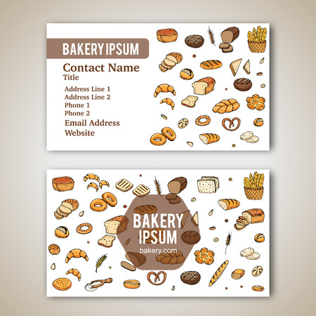 Business card template with hand drawn doodles of cartoon food: rye bread, whole grain bread, bagel, sliced bread, french baguette, croissant for bakery. Vector illustration. Sketch elements.