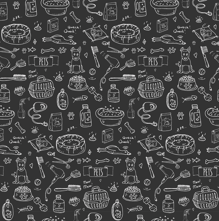 cat grooming: Seamless pattern hand drawn doodle Pets stuff and supply icon set. Vector illustration. Symbol collection. Cartoon dog and cat care elements: leash, food, paw, bowl, bone and other goods for pet shop Illustration