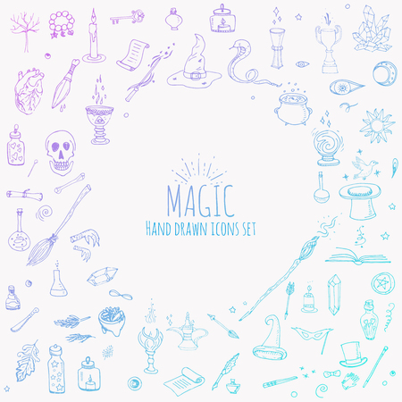 sorcery: Hand drawn doodle Magic icons set. Vector illustration. Cartoon sorcery concept. Wizardy, witchcraft symbols and elements: Magic wand, Love potion, Fairy book, Fairytale, Snake, Crystal ball, Broom.