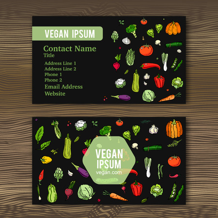 Business cards template with hand drawn doodle vegetables icons for vegan shop or restaurant. Vector illustration. Cartoon various types of seasonal veggie symbols on wood background. Sketchy style.