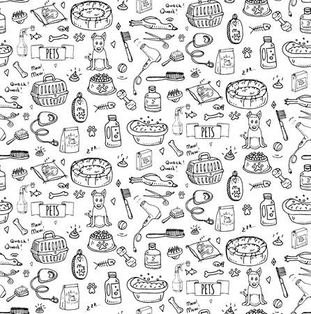 원활한 패턴을 손으로 그린 낙서 애완 동물 물건과 공급 아이콘을 설정합니다. 벡터 일러스트 레이 션. 기호 컬렉션입니다. 애완 동물 가게를위한