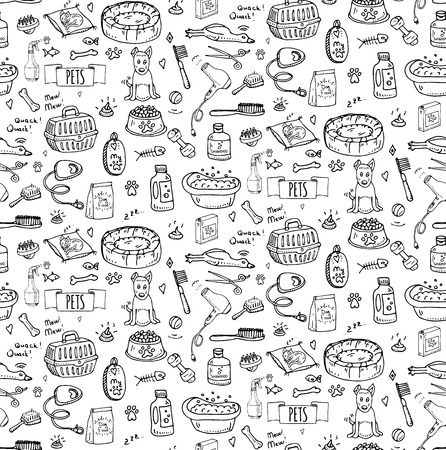 Seamless pattern hand drawn doodle Pets stuff and supply icon set. Vector illustration. Symbol collection. Cartoon dog and cat care elements: leash, food, paw, bowl, bone and other goods for pet shop Illustration