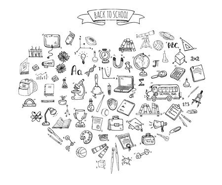 Hand getrokken doodle Back to school pictogrammen instellen Vector illustratie educatieve symbolen collectie Cartoon verschillende learning elementen: Laptop; Lunchbox; Zak; Microscoop; Telescoop; Boeken; Pencil Sketch bus Stock Illustratie