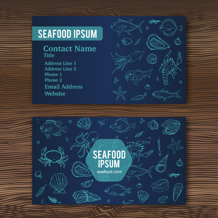 Business card template with hand drawn doodle seafood icons for restaurant. Vector illustration. Cartoon fresh sea food symbols: fish, crab, lobster, oyster, shrimp, shellfish on wood background.