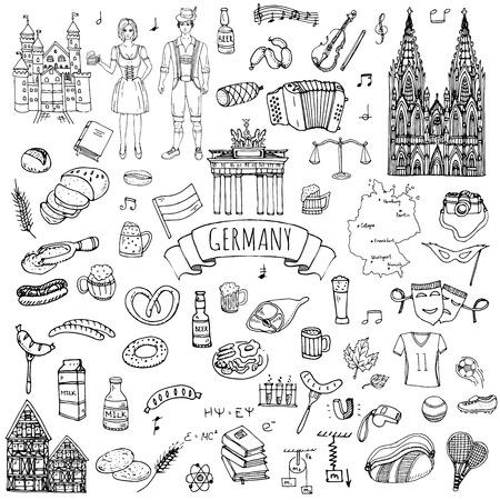 Conjunto drenado mano del doodle de Alemania iconos. establece ilustración vectorial. De dibujos animados hito alemán. Incompleto Europa Colección de los elementos de viaje: salchichas, cerveza, pan de trigo, el fútbol, ??el tenis, la música clásica, el castillo Ilustración de vector