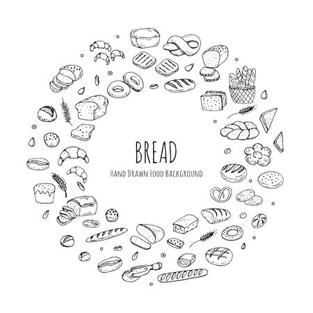 手描き落書き漫画食品: ライ麦パン、チャバタ、全粒パン、ベーグル、パン、フランスパン、クロワッサン、サンドイッチ、ケーキをスライスします  イラスト・ベクター素材