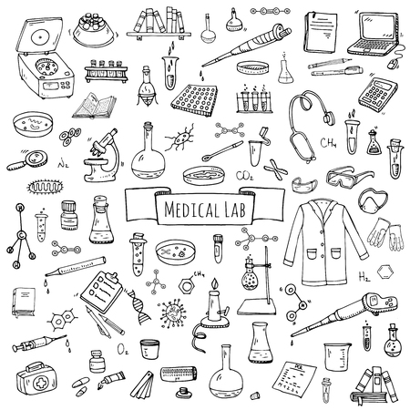 Hand drawn doodle Medical laboratory icons set. Vector illustration. Chemical lab symbol collection. Cartoon medicine and healthcare elements: research tools, substance and molecules, lab coat, mask Ilustração
