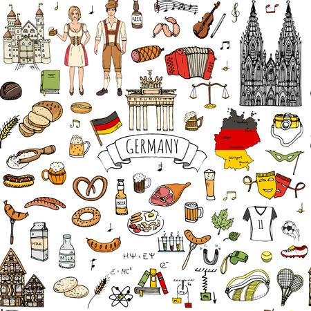 Modelo inconsútil de la mano conjunto doodle de Alemania iconos. establece ilustración vectorial. De dibujos animados hito alemán. Incompleto Europa Colección de los elementos de viaje: salchichas, cerveza, pan de trigo, fútbol, ??castillo Ilustración de vector
