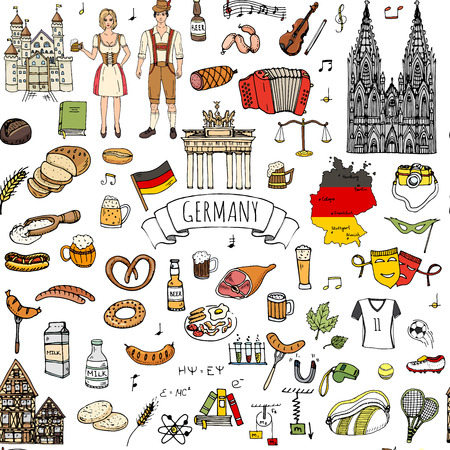Seamless pattern hand drawn doodle set of Germany icons. Vector illustration set. Cartoon German landmark. Sketchy Europe travel elements collection: Sausage, Beer, Wheat bread, football, castle Vettoriali