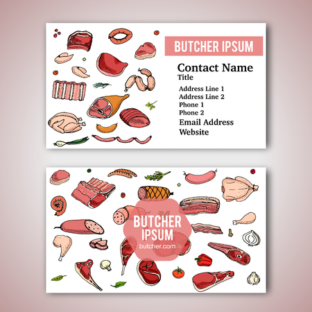 Business card template with hand drawn doodle set of cartoon different kind of meat and poultry. Vector illustration set. Sketchy food elements: Lamb, Pork, Ham, Chicken, Steak, Bacon, Sausage, Salami