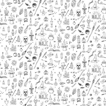 원활한 패턴 손으로 그린 낙서 마법의 아이콘을 설정합니다. 벡터 일러스트 레이 션. 만화 마법 개념입니다. 마법사, 요술 기호 및 요소 : 지팡이,