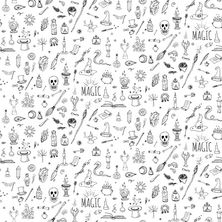 Seamless pattern hand drawn doodle Magic icons set. Vector illustration. Cartoon sorcery concept. Wizardy, witchcraft symbols and elements: wand, love potion, fairy book, tale, snake, crystal ball. Vettoriali