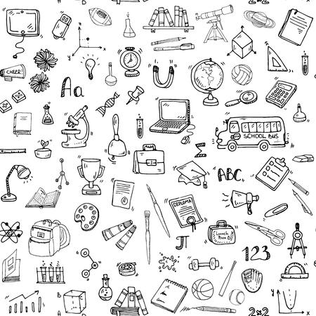 손으로 그린 낙서 학교 아이콘 벡터 일러스트 레이 션 교육 기호 만화 학습 요소를 설정하여 원활한 배경 : 노트북; 점심 도시락; 가방; 현미경; 망 일러스트