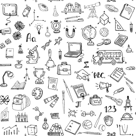 Seamless background with hand drawn doodle School icons set Vector illustration educational symbols Cartoon learning elements: Laptop; Lunch box; Bag; Microscope; Telescope; Books; Pencil Sketch bus Vettoriali