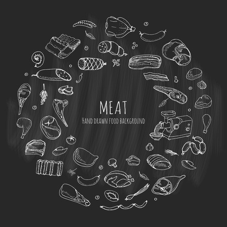 Hand drawn doodle set of cartoon different kind of meat and poultry. Vector illustration set. Sketchy food elements collection: Lamb, Pork, Ham, Mince, Chicken, Steak, Bacon, Sausage, Salami, Veggie. Иллюстрация