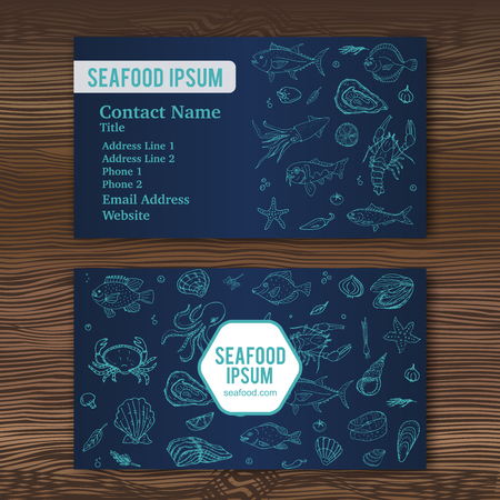 shellfish: Business card template with hand drawn doodle seafood icons for restaurant. Vector illustration. Cartoon fresh sea food symbols: fish, crab, lobster, oyster, shrimp, shellfish on wood background.