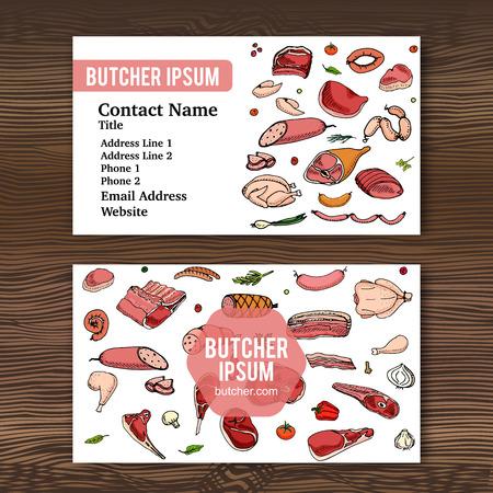 negocios comida: plantilla de tarjeta de visita con dibujado a mano conjunto de dibujos animados del doodle de diferentes tipos de carne y aves de corral. establece ilustración vectorial. Los elementos de comida incompletos: cordero, cerdo, jamón, pollo, carne, tocino, salchichas, salami
