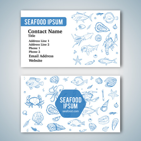 Business card template with hand drawn doodle seafood icons for restaurant. Vector illustration. Cartoon fresh sea food symbols: fish, crab, lobster, oyster, shrimp, shellfish on white background.