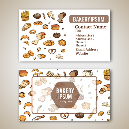 rye bread: Business card template with hand drawn doodles of cartoon food: rye bread, whole grain bread, bagel, sliced bread, french baguette, croissant for bakery. Vector illustration. Sketch elements.