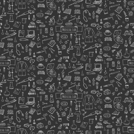 Naadloos patroon Hand getrokken doodle medisch laboratorium iconen set. Vector illustratie. Chemisch laboratorium symbool collectie. geneeskunde en gezondheidszorg Cartoon elementen: research tools, stof en moleculen