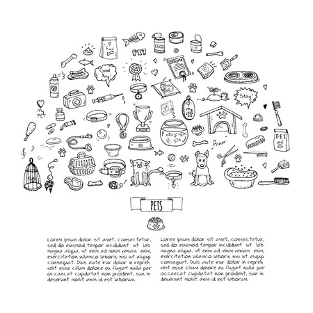 sleeping pills: Hand drawn doodle Pets stuff and supply icons set. Vector illustration. Vet symbol collection. Cartoon dogs and cats care elements: kennel, leash, food, paw, bowl, bone and other goods for pet shop