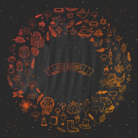 food basket: Hand drawn doodle Autumn icons set. Vector illustration. Fall symbols collection. Cartoon various seasonal elements: turkey, harvest, vegetables, pumpkin pie, leaves, trees, hot tea, wine, mushrooms