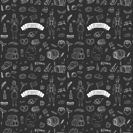 barrels set: Seamless pattern hand drawn doodle set of Oktoberfest icons. Vector illustration set. Cartoon Bavarian elements. Sketchy collection: Sausage, Beer Barrels, Bread, Girl and Man in traditional costumes.
