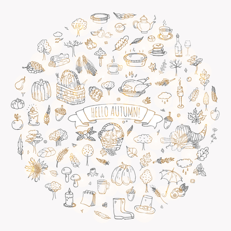 Hand getrokken pictogrammen doodle herfst set. Vector illustratie. Fall inzameling van symbolen. Cartoon diverse seizoensgebonden elementen: turkije, oogst, groenten, pompoentaart, bladeren, bomen, warme thee, wijn, paddestoelen